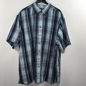 Synrgy light blue and black plaid button shirt